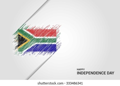 South Africa Happy independence day scribble flag. Hand drawn Country flag on Gray crumbled paper. vintage background wallpaper vector illustration.