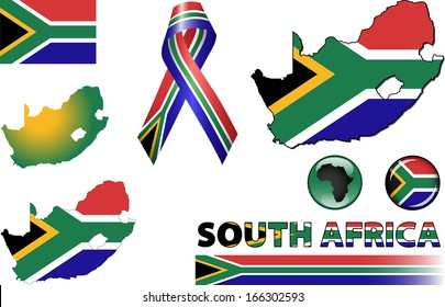 South Africa Icons. Set of vector graphic images and symbols representing South Africa