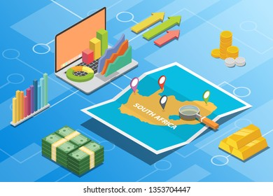 south africa isometric financial economy condition concept for describe country growth expand - vector