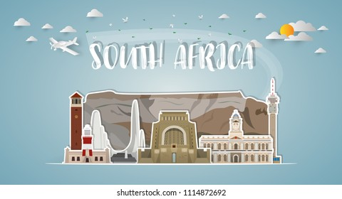 South Africa Landmark Global Travel And Journey paper background. Vector Design Template.used for your advertisement, book, banner, template, travel business or presentation