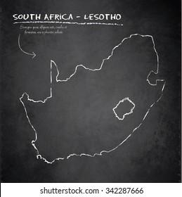 South Africa Lesotho map blackboard chalkboard vector