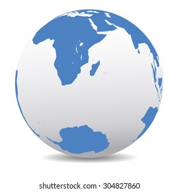 South Africa, Madagascar, and the South Pole - Vector Map Icon of the World Globe