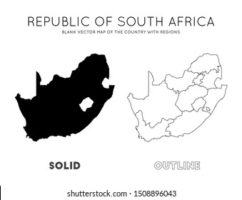 South Africa map. Blank vector map of the Country with regions. Borders of South Africa for your infographic. Vector illustration.