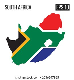 South Africa map border with flag vector EPS10