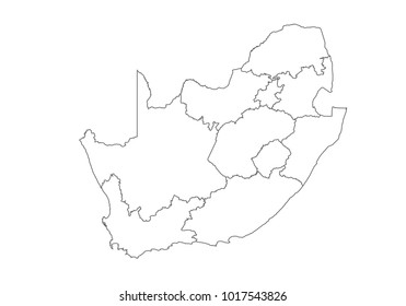 South Africa map with country borders, thin black outline on white background. High detailed vector map with counties/regions/states - South Africa. contour, shape, outline, on white.