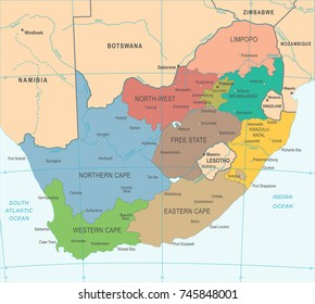 South Africa Map - Detailed Vector Illustration