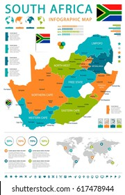 South Africa map and flag - highly detailed vector illustration
