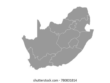 South Africa map. High detailed map of South Africa on white background. Vector illustration eps 10.