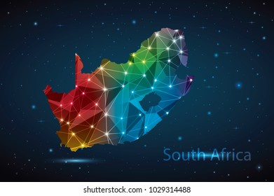 South Africa map of polygonal mosaic lines network, Rays and space stars, Abstract Polygon Map. Low Poly Color Rainbow. Vector Illustration EPS10.