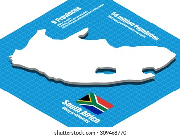 South Africa map vector three dimensional