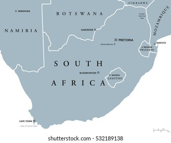 South Africa political map with the capitals Pretoria, Bloemfontein and Cape Town. With national borders and neighbor countries. Gray illustration with English labeling on white background. Vector.
