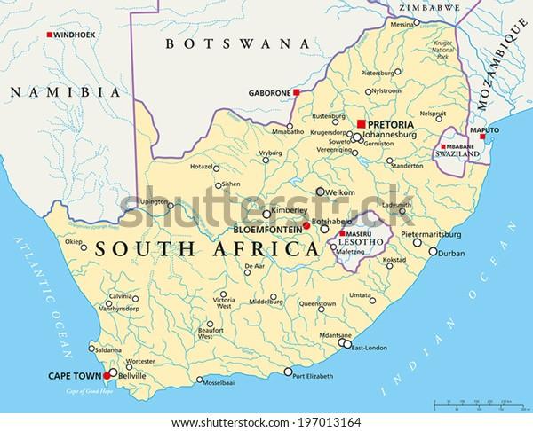 Sydafrika Politisk Kort Med Hovedstaederne Pretoria Lagervektor
