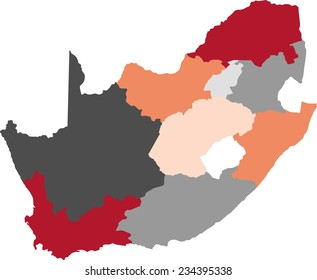 South Africa political map with pastel colors.