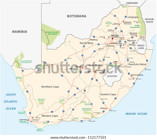 East Africa Road Map.South Africa Road Map Stock Vector Royalty Free 152177501