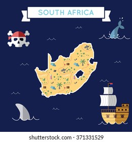 South Africa treasure map in flat design. Colorful cartoon treasure map of South Africa with flat design icons of pirate ship and jolly roger. South Africa flat design vector illustration.