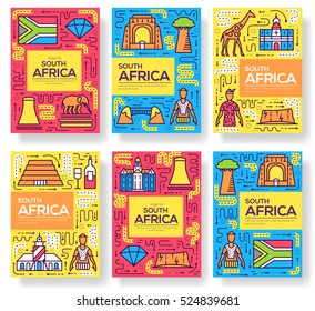 South Africa vector brochure cards thin line set. Country template of flyear, magazines, posters, book cover, banners. Layout culture outline illustrations modern pages