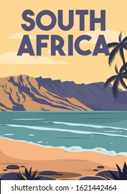 South Africa Vector Illustration Background. Traveling at South Africa Beach Suitable for Print Art, Poster and Website. Flat Cartoon Vector Illustration in Colored Style.