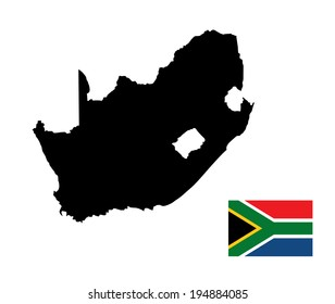 South Africa vector map silhouette and flag isolated on white background. High detailed silhouette illustration. South Africa vector flag.