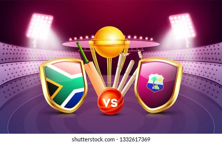 South Africa vs West indies cricket match poster design with countries flag shields, champion trophy, cricket bat and ball on night stadium view background.