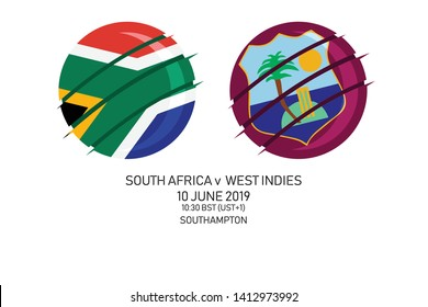 South Africa vs West Indies, 2019 Cricket Match, Vector illustration