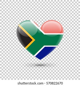 South African Flag Heart Icon on Transparent Background. Vector illustration