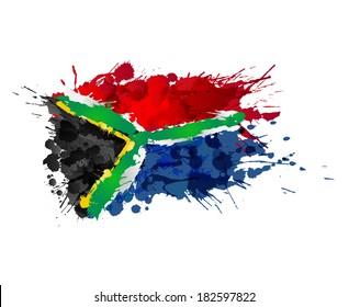 03aae7fa2e4 South African flag made of colorful splashes