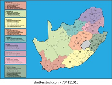 South African Map with Provinces Labelled, Sectioned, Divided, Numbered and Colour Coded into Various Municipal Districts