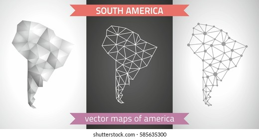 South America collection of vector design modern maps, gray and black and silver dot contour mosaic 3d map