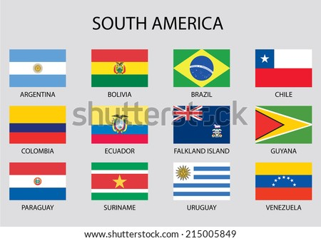 South America Continent Flag Pack Stock Vector Royalty Free