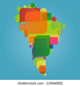 South America continent world map made of colorful speech bubbles concept illustration background vector