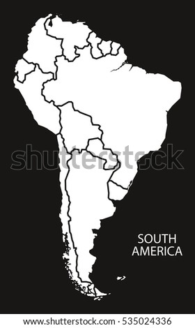 South America Countries Map Black White Stock Vector (Royalty Free ...