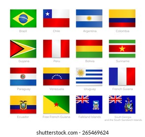 South America detailed flags set of all continent countries and overseas territories. Vector flags icon set.