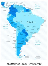 South America Detailed Map Blue Colors. All elements are separated in editable layers clearly labeled.