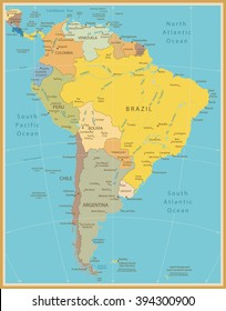 South America Detailed Map Vintage Color.All elements are separated in editable layers clearly labeled.