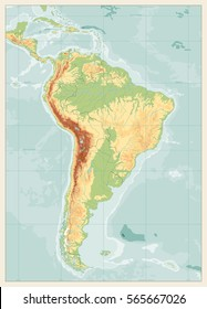 South America Detailed Physical Map with global relief, lakes and rivers. Retro colors. No text. Highly detailed vector map.