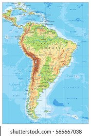 South America Detailed Physical Map with global relief, roads, lakes and rivers. Highly detailed vector map.