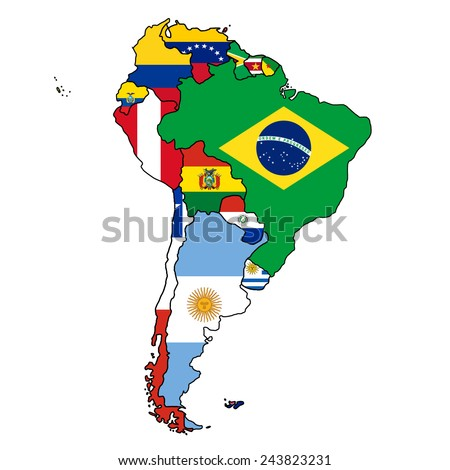 South America Flag Map All Countries Stock Vector (Royalty Free ...