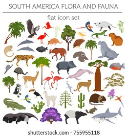 South America flora and fauna flat elements. Animals, birds and sea life big set. Build your geography infographics collection. Vector illustration