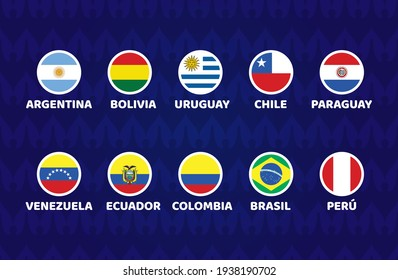 South America Football 2021 Argentina Colombia vector illustration. Copa america 2021 Set of cicle flag soccer tournament in south america