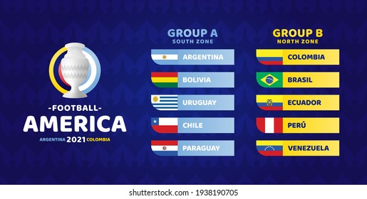 South America Football 2021 Argentina Colombia vector illustration. Copa america 2021 Two group a and group b final stage soccer tournament
