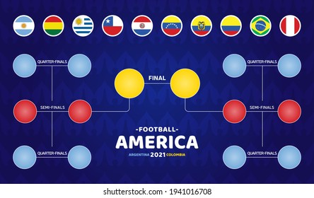 South America Football 2021 Argentina Colombia vector illustration. Copa America 2020 Final stage schedule soccer tournament on pattern background