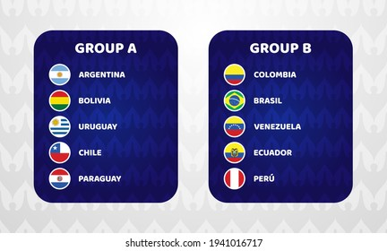 South America Football 2021 Argentina Colombia vector illustration. Copa America 2020 Two group a and group b final stage soccer tournament