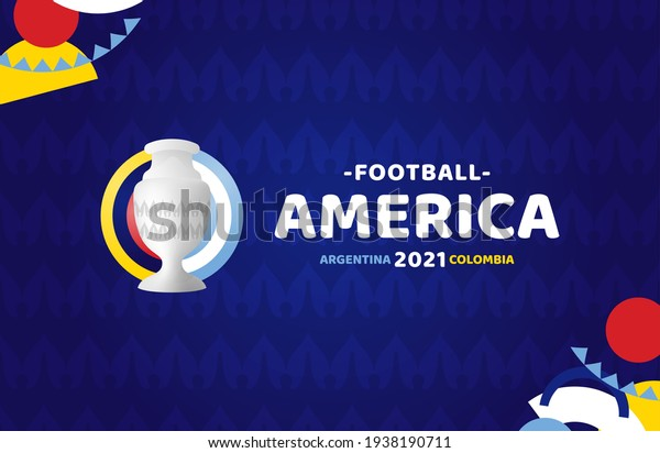 South America Football 2021 Argentina Colombia vector illustration. Copa america 2021 No official tournament logo on pattern background