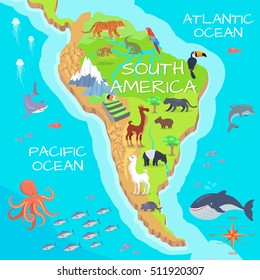 South America mainland cartoon map with fauna species. Cute american animals flat vector. Amazonian predators. Mountain species. Jungle wildlife. Nature concept for children's book illustrating