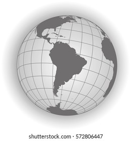 South America map. Antarctica, North America, Africa. Earth globe. Worldmap. Elements of this image furnished by NASA