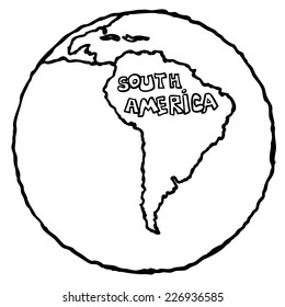 South America map Doodle