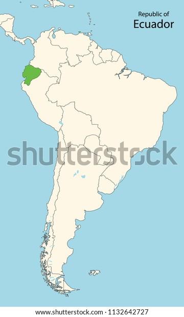 South America Map Ecuador Stock Vector Royalty Free 1132642727
