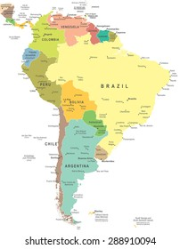 South America - map - illustration