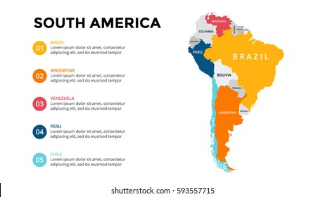 South America map infographic. Slide presentation. Global business marketing concept. Color country. World transportation data. Economic statistic template.