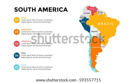 south america map infographic slide presentation のベクター画像素材